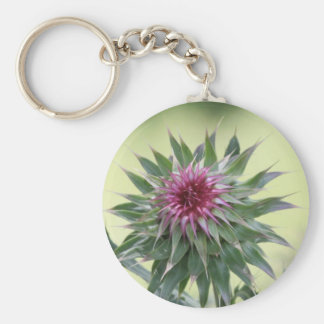 Purple Flower Bud Basic Round Button Key Ring