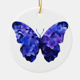 Purple flower butterfly silhouette christmas ornament