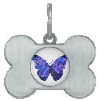 Purple flower butterfly silhouette pet ID tag
