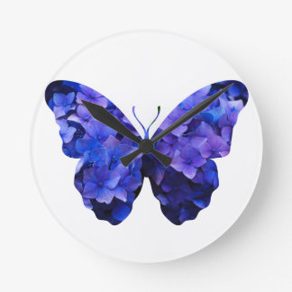 Purple flower butterfly silhouette wall clock