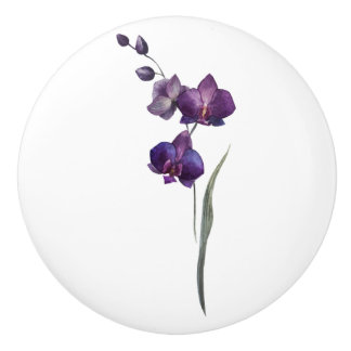 Purple Flower Cabinet Knob