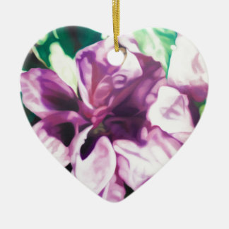Purple Flower Ceramic Heart Decoration