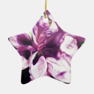 Purple Flower Ceramic Star Decoration