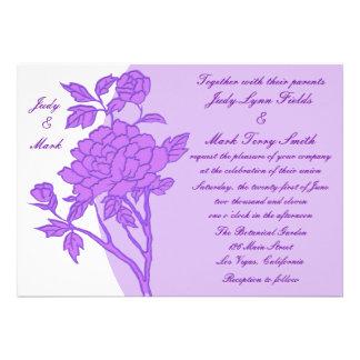 Purple Flower Custom Wedding Invitation
