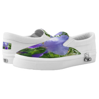 Purple Flower Custom Zipz Slip On Shoes,Men&Women