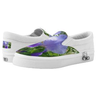 Purple Flower Custom Zipz Slip On Shoes,Men&Women Printed Shoes