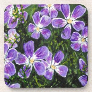 Purple flower design beverage coasters