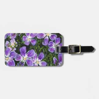 Purple flower design luggage tag
