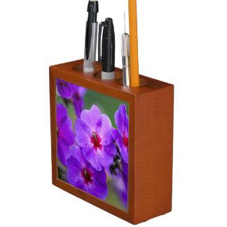 Purple flower desk organiser