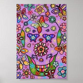 Purple Flower Fiesta Sugar Skull Poster