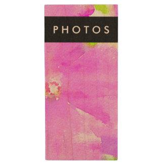 Purple Flower Floral Watercolor Background Wood USB 2.0 Flash Drive