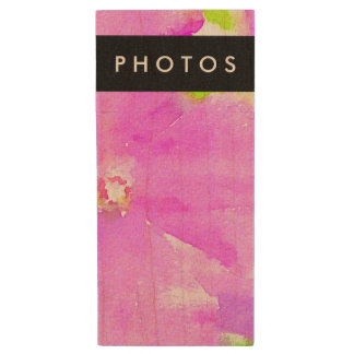 Purple Flower Floral Watercolor Background Wood USB Flash Drive