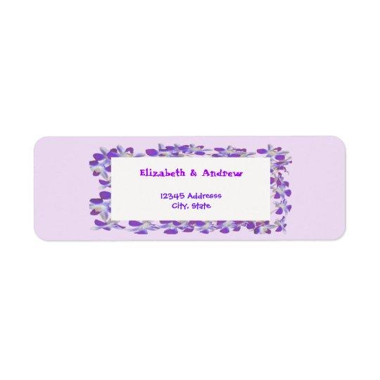 purple flower frame floral chic label return address label