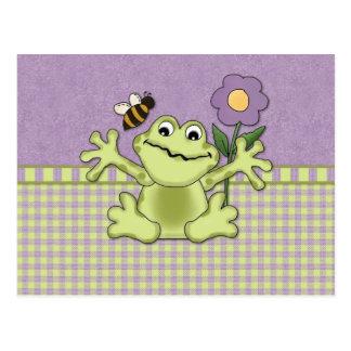 Purple Flower Frog on Gingham Postcard
