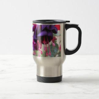 Purple flower, fuschia stainless steel travel mug