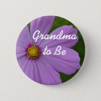 "Purple Flower ""Grandma to Be"" Button"