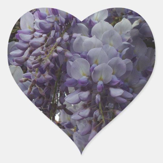 Purple Flower Heart Sticker