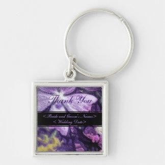 Purple Flower Illustration Wedding Silver-Colored Square Key Ring