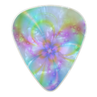 Purple Flower In Blue Pearl Celluloid Guitar Pick