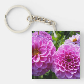 Purple Flower Double-Sided Square Acrylic Keychain