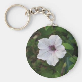 Purple Flower Basic Round Button Key Ring