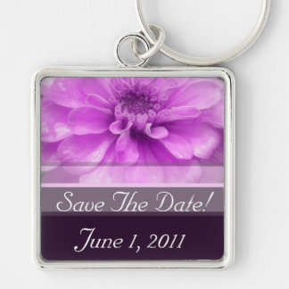 Purple Flower Silver-Colored Square Key Ring