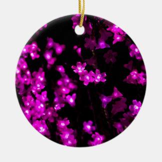Purple Flower Lights Christmas Ornaments