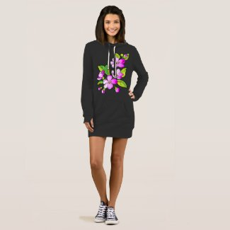Purple Flower Love Hoodie Dress