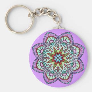 Purple Flower Mandala Keychain