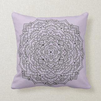 Purple Flower Mandala Throw Pillow