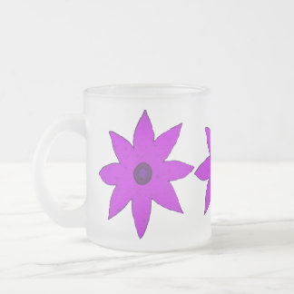 Purple flower frosted glass mug