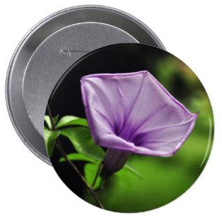 Purple Flower on Green Background 10 Cm Round Badge