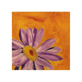 Purple Flower on Yellow Background Wood Wall Art