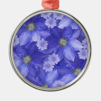 Purple Flower Pattern Christmas Ornament