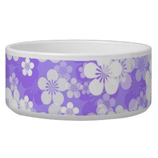 Purple Flower Pattern Large Pet Bowl