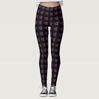 Purple Flower pattern Leggings