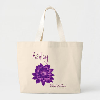 Purple Flower Personalized Maid of Honor Large Tote Bag
