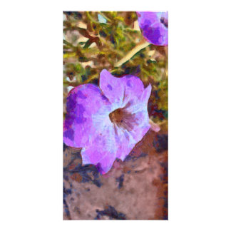 Purple flower personalized photo card