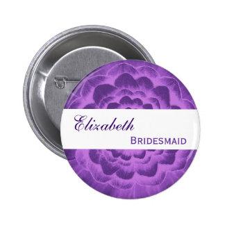 Purple Flower Petals Custom Name Bridesmaid 6 Cm Round Badge