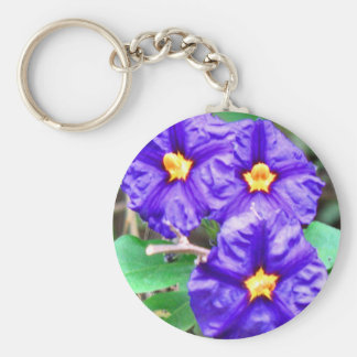 Purple Flower Photo Basic Round Button Key Ring