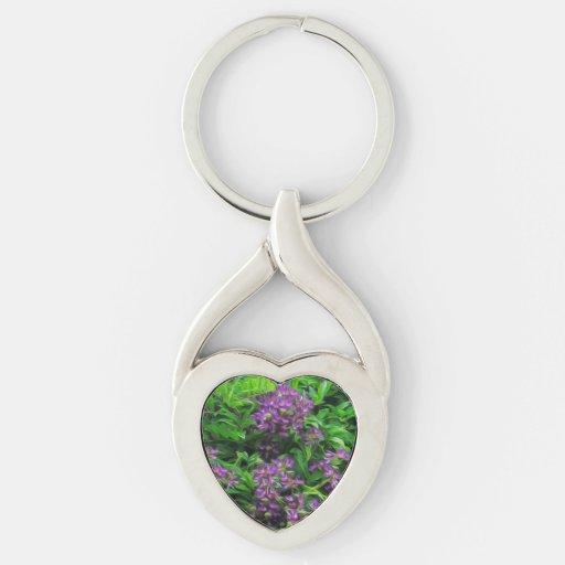 Purple Flower Photo Heart Keychain