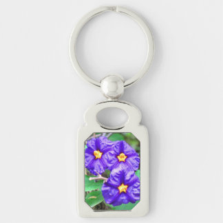 Purple Flower Photo Silver-Colored Rectangle Key Ring