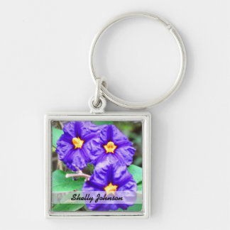 Purple Flower Photograph Silver-Colored Square Key Ring