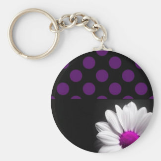 Purple Flower Polka Dots Key Chains