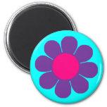 Purple Flower Power 6 Cm Round Magnet