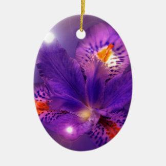 Purple flower power ceramic oval decoration