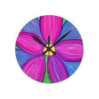 Purple Flower Power Wall Clocks