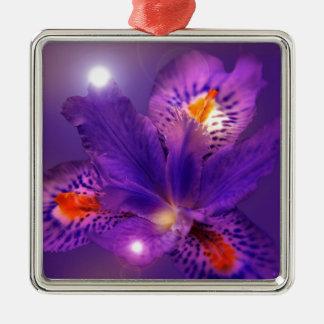 Purple flower power Silver-Colored square decoration