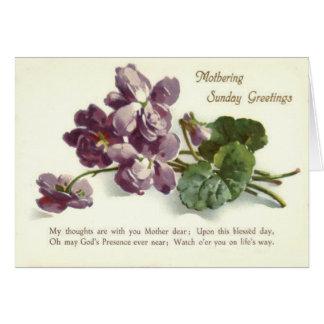 Purple Flower Prayer Sunday Mother's Day Greeting Card