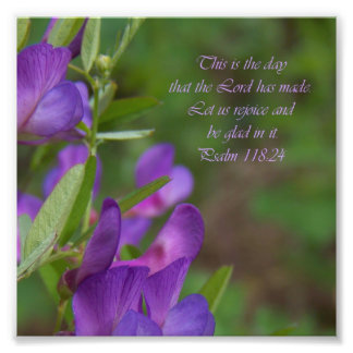 Purple Flower Psalm 118:24 Bible Verse Photo Print